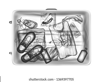 Xray view of a suitcase isolated on white / airport security / 3D illustration