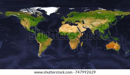 XXL Size Physical World Map Illustration Stockillustration 747992629 ...