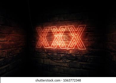 XXX neon sign, conceptual 3d rendering illustration
