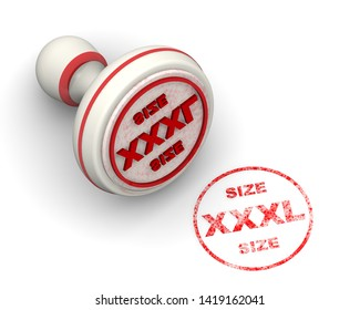 XXXL size. Seal and imprint. Red seal and red print XXXL SIZE on white surface. Isolated. 3D Illustration