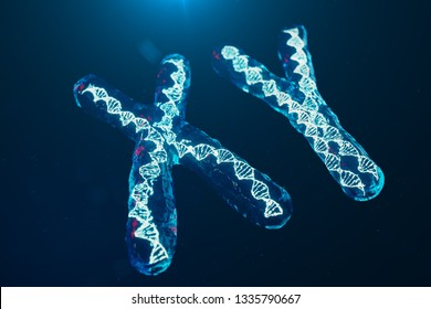 XY-Chromosomes with DNA carrying the genetic code. Genetics concept, medicine concept. Future, genetic mutations. Changing the genetic code at the biological level. 3D illustration