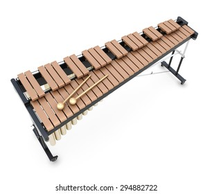 Xylophone isolated on white background. 3d render image. Music instument.