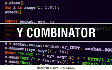 Y combinator concept with Random Parts of Program Code. Y combinator with Programming code abstract technology background of software developer and Computer script. Y combinator Background concept