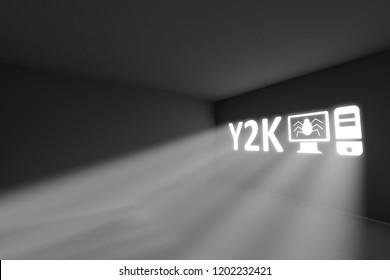 Y2K rays volume light concept 3d illustration