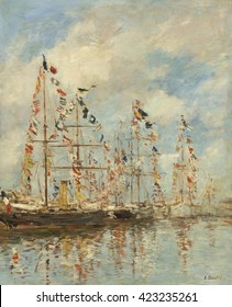 Yacht Basin at Trouville-Deauville, by Eugene Boudin, 1895-96, French impressionist painting, oil on canvas. Created in his last decade, this work is less finished, and more typically impressionist t