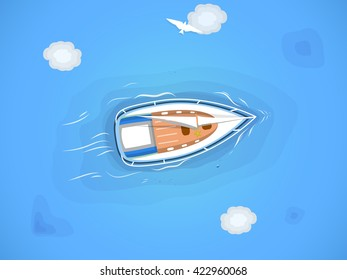 Yacht in the sea. Top view through the clouds on a white yacht sailing, floating on the waves of the sea.
