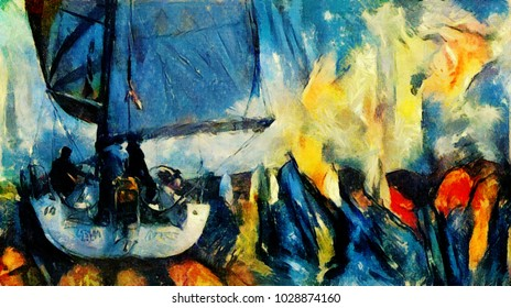 Yachts in the sea on the sports regatta. The painting is made in oil on canvas with elements of pastel painting. In a contemporary style of abstract art.
