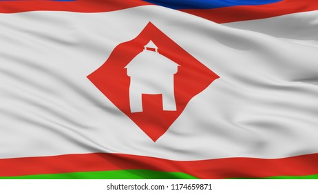 Yakutsk City Flag, Country Russia, Closeup View, 3D Rendering
