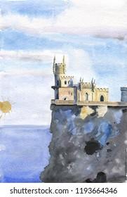 Yalta Swallow Nest on clif and sea background watercolor illustration. Crimea landmark.