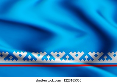 Yamal-Nenets Autonomous District modern and realistic closeup flag illustration. Perfect for background or texture purposes.