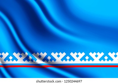 Yamal-Nenets Autonomous District modern and realistic closeup 3D flag illustration. Perfect for background or texture purposes.