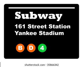 Yankee Stadium subway train sign isolated on black background.