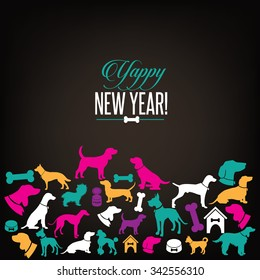 Yappy New Year dog silhouettes greeting card design.
