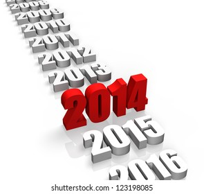 Year 2014 and other years behind and front