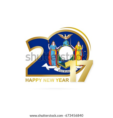 year 2017 with new york state flag pattern happy new year design on white background