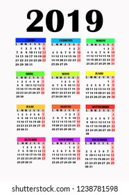 Year 2019 calendar. Simple design for calendar 2019. Calendar on White Background for organization and business. Week Starts Monday. Calendar in spanish language for 2019 year.