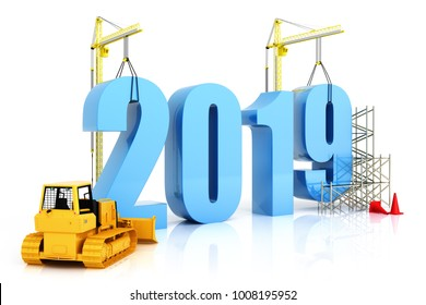 Year 2019 growth, building, improvement in business or in general concept in the year 2019, 3d rendering on a white isolated background