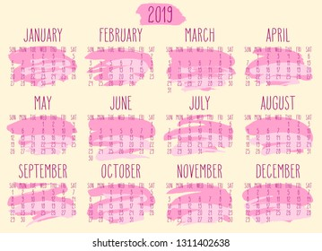 Year 2019 monthly calendar. Week starting from Sunday. Hand drawn freeform pink paint stroke artsy design over beige background.