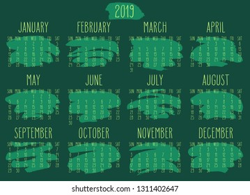 Year 2019 monthly calendar. Week starting from Sunday. Hand drawn freeform green paint stroke artsy design.