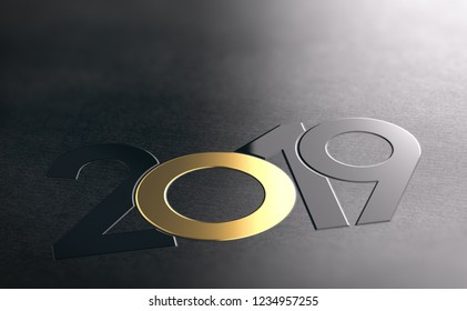 Year 2019 written with black and golden numbers over dark background. New year graphic design. 3D illustration