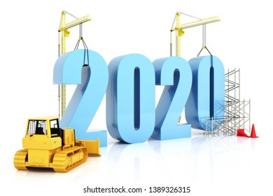 Year 2020 growth, building, improvement in business or in general concept in the year 2020, 3d rendering on a white background