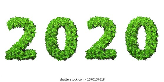 Year 2020 made from green leaves