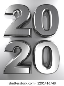 The year 2020, written with metallic chrome 3D letters, on a white surface