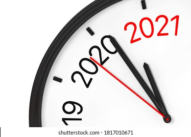 The Year 2021 is Approaching. 2021 Sign with a Clock on a white background. 3d Rendering
