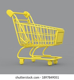 Year of 2021 Trendy Colors. Illuminating Yellow Shopping Cart Trolley on a Ultimate Gray background. 3d Rendering