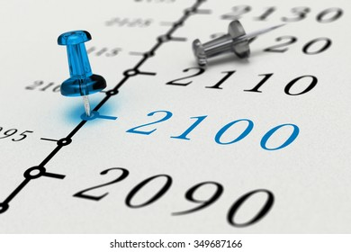 Year 2100 written on a paper with a blue pushpin, concept image for business vision or long term prospective. Number two thousand one hundred.