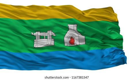 Yekaterinburg City Flag, Country Russia, Sverdlovsk Oblast, Isolated On White Background, 3D Rendering