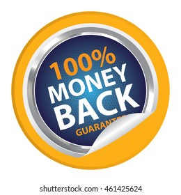 Yellow 100% Money Back Guarantee Campaign Promotion Infographics Icon on Circle Peeling Sticker Isolated on White Background