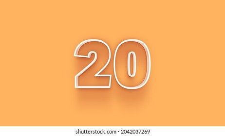 Yellow 3d number 20 isolated on yellow background coupon 20 3d numbers rendering discount collection for your unique selling poster, banner ads, Christmas, Xmas sale and more