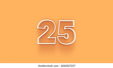 Yellow 3d number 25 isolated on yellow background coupon 25 3d numbers rendering discount collection for your unique selling poster, banner ads, Christmas, Xmas sale and more