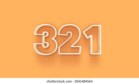 Yellow 3d number 321 isolated on yellow background coupon 321 3d numbers rendering discount collection for your unique selling poster, banner ads, Christmas, Xmas sale and more