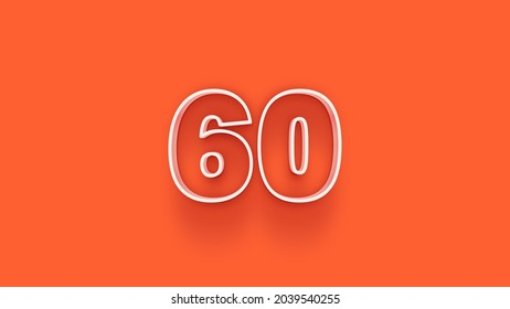 Yellow 3d number 60 isolated on yellow background coupon 60 3d numbers rendering discount collection for your unique selling poster, banner ads, Christmas, Xmas sale and more
