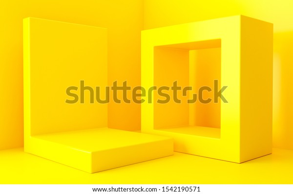 Yellow abstract geometric shape group set, minimal abstract background, 3d rendering, Scene with geometrical forms