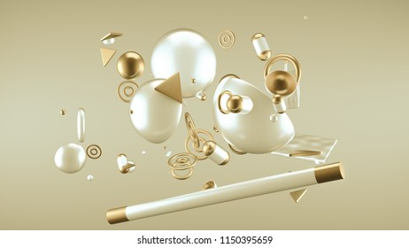 Yellow abstract minimalism background with flying objects and shapes. 3d illustration, 3d rendering.