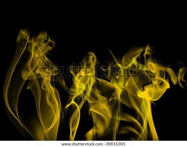 Yellow abstract smoke on black background.