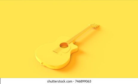 Yellow Acoustic Electric Guitar / 3d illustration / 3d rendering