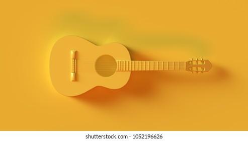 Yellow Acoustic Guitar 3d illustration 3d rendering