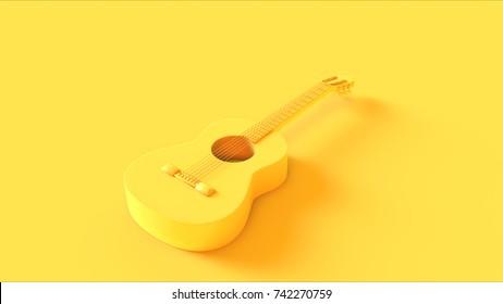 Yellow Acoustic Guitar / 3d illustration / 3d rendering