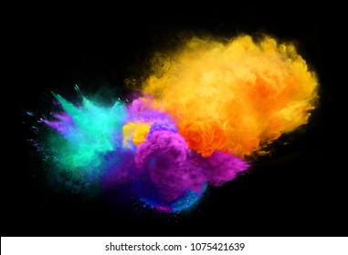 Yellow, agua and violet powder explosion on black background. Illustration