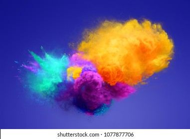 Yellow, agua and violet powder explosion on blue background. Freeze motion of powder exploding. 3D illustration