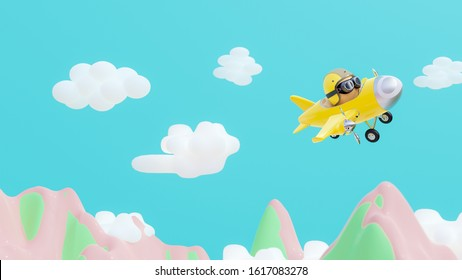 Yellow airplane are flying on mountains and bright skies using pastel colors. 3d render.