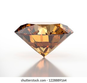 Yellow Amber Diamond isolated on white background with soft reflection, 3d illustration.