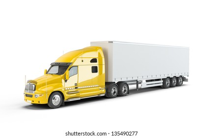 Yellow american truck isolated on white