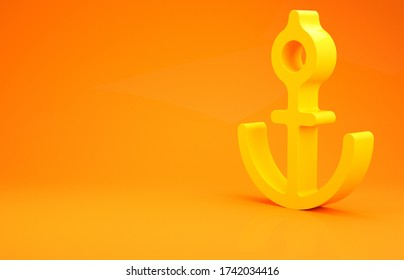 Yellow Anchor icon isolated on orange background. Minimalism concept. 3d illustration 3D render