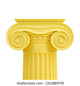 Yellow ancient Greek column isolated on white background. Trendy fashion style. Minimal design art. 3d illustration.