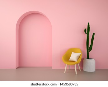 yellow armchair with cactus in pink arch wall room minimalist style-3D rendering